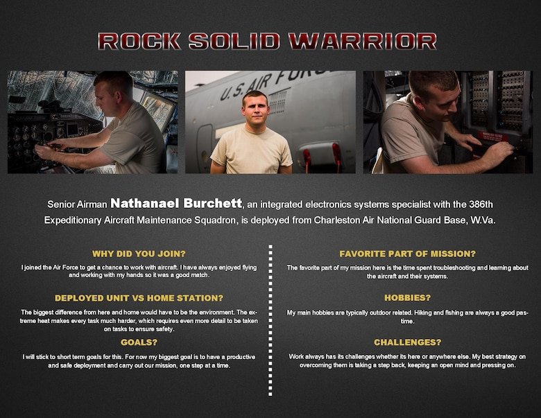 This week's Rock Solid Warrior is Senior Airman Nathanael Burchett, an integrated electronics systems specialist with the 386th Expeditionary Aircraft Maintenance Squadron, deployed from Charleston Air National Guard Base, W.Va. The Rock Solid Warrior program is a way to recognize and spotlight the Airmen of the 386th Air Expeditionary Wing for their positive impact and commitment to the mission.
