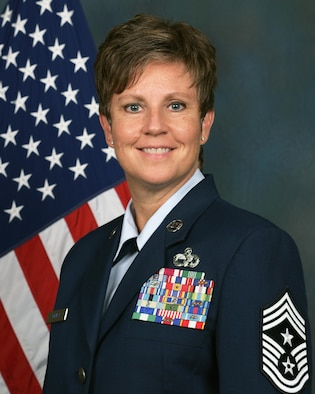 Command Chief Master Sgt. 178th Wing, Springfield Ohio Air National Guard Chief Master Sgt. Heidi Bunker.