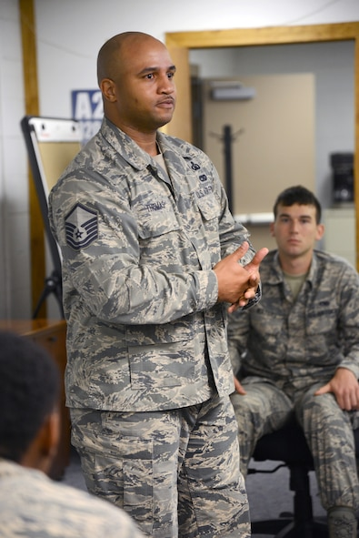 Master Sgt. Andre Thomas, career assistance adviser for Tinker's First Term Airman Course, gives an introduction of Tinker and FTAC's course work to the 32 participants in FTAC's most recent class.