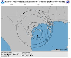 Map showing Hurricane Harvey's projected path