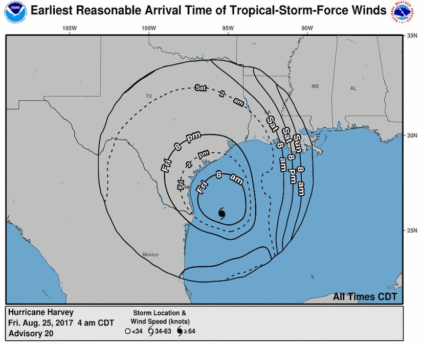 About 700 members of the Texas Army National Guard and Air National Guard and the Texas State Guard with the Texas Military Department have been activated and are pre-positioning throughout the state ahead of Hurricane Harvey and its anticipated landfall. National Hurricane Center graphic