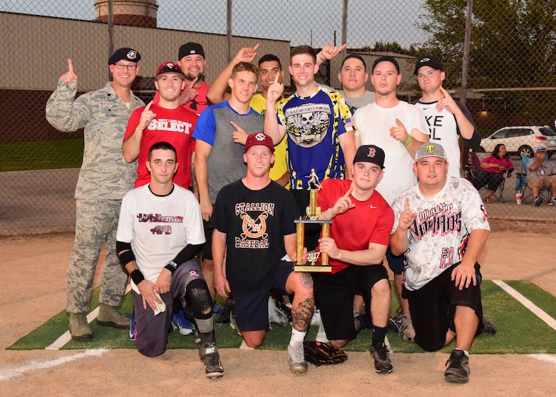 The 509th Security Forces Squadron (SFS) A Team wins the 2017 intramural softball championship at Whiteman Air Force Base, Mo., Aug. 15, 2017. The SFS A Team defeated the 131st Maintenance Squadron 20-8.