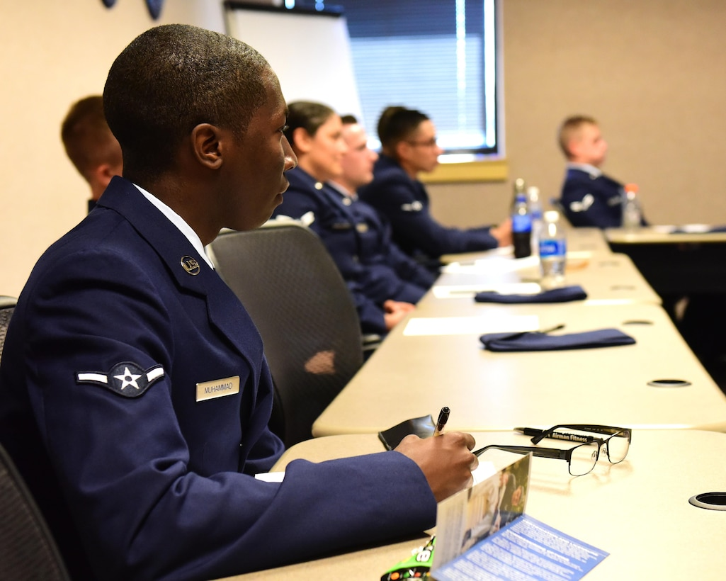 U.S. Air Force Airman Faheem Muhammad, a member of the 509 Aircraft Maintenance Squadron attending the First Term Airmen Course, listens to a discuss about  professionalism at Whiteman Air Force Base, Mo., July 24, 2017. The new FTAC is a five-day class that consists of briefs from different base agencies, 13 hours of professionalism training and tours of a B-2 Spirit and the Oscar-1 Minuteman Missile Alert Facility. (U.S. Air Force photo/Staff Sgt. Danielle Quilla)