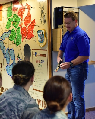 David Grisdale, the director of historical property assigned to the 509th Bomb Wing, tour the Airmen through Oscar-1 to help them understand Whiteman's history and involvement during the Cold War.