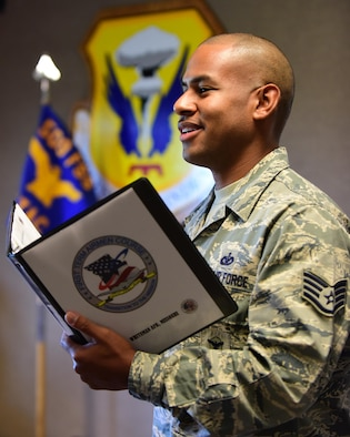 U.S. Air Force Staff Sgt. Bryan Robinson, the First Term Airmen Course (FTAC) NCO in charge, prepares for the next class at Whiteman Air Force Base, Mo., Aug. 17, 2017. FTAC is designed to help develop Air Force personnel with a mission mindset, character and core values.