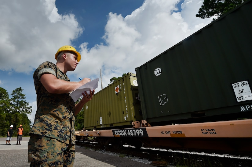 U.S. Marine Cpl. Melvin Willis, Naval Munitions Command Marine Corps Liaison Office member, inspects containers carrying munitions during an inspection at the Joint Base Charleston Weapons Station, S.C., Aug. 21. Marines attached to the NMC's Marine Corps Liaison Office are responsible for inspecting munitions containers to ensure they are receiving safe quality items during the download. These Marines work alongside NMC civilians and members of the U.S. Air Force 628th Logistics Readiness Squadron to prepare them for transport to their final destination.