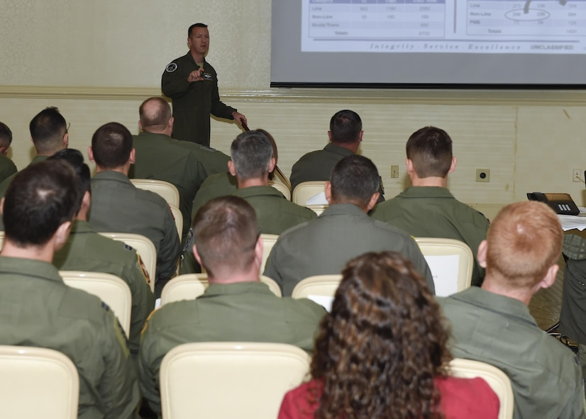 Attendees of the aircrew retention summit discuss one of nine working group areas Aug. 15 during a two-week aircrew retention summit as part of a holistic approach to improve readiness and capacity by increasing retention of experienced aviators.