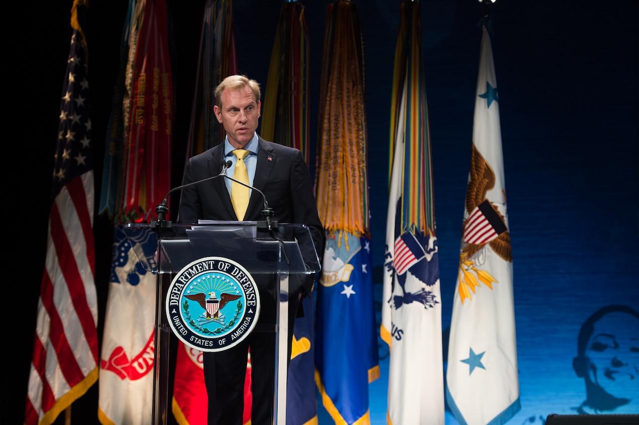Deputy Defense Secretary Pat Shanahan speaks at the Secretary of Defense Employer Support Freedom Awards ceremony at the Pentagon.