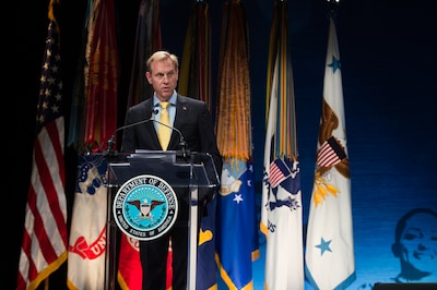 Deputy Defense Secretary Pat Shanahan speaks at the Secretary of Defense Employer Support Freedom Awards ceremony at the Pentagon.