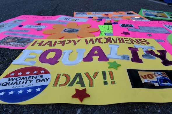 In celebration of Women's Equality Day, members of Team Seymour hosted a 5k walk, August 25, 2017, at Seymour Johnson Air Force Base, North Carolina. The 19th Amendment was successfully passed with the help of the Women's Suffrage movement as well as the Women's rights convention.  (U.S. Air Force photo by Airman 1st Class Victoria Boyton)