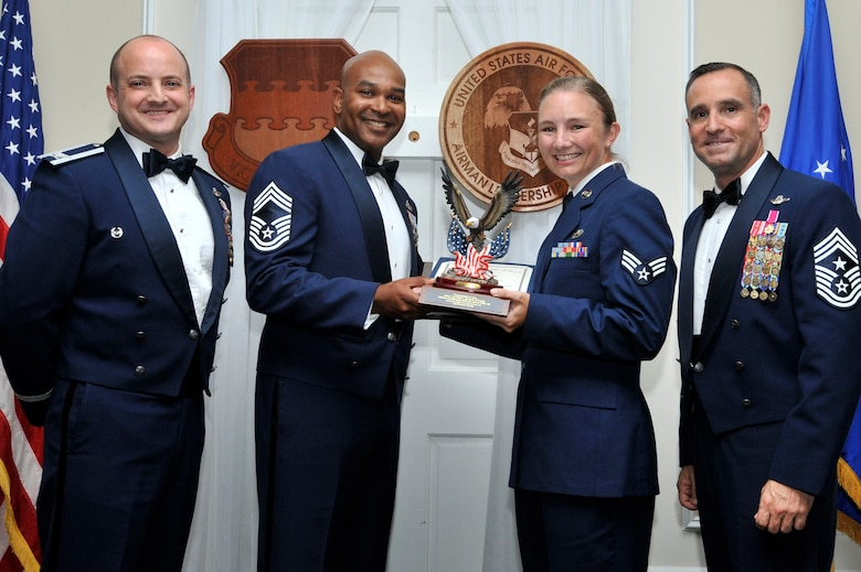 The Levitow Award is given to the graduate with the highest average rating from instructor and student points, and is the highest award in enlisted professional military education.