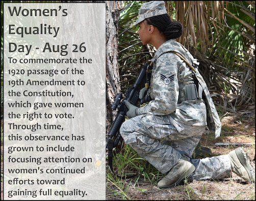 The 920th Rescue Wing recognized Women's Equality Day on August 26, 2017. This photo of a female 920th Security Forces defender shows a strong woman who is defending her country by participating in an exercise at Patrick Air Force Base's Malabar Annex August 22, 2017 to prepare for an overseas deployment. (U.S. Air Force photo/Maj. Cathleen Snow; photo illustration/Maj. Cathleen Snow)