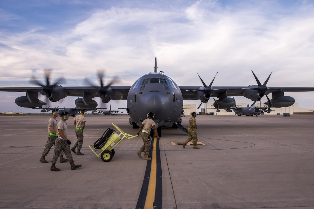 An engine-start check is performed prior to an MC-130J Commando II takeoff for night operations from Cannon Air Force Base, New Mexico, Aug. 23, 2017. This aircraft provides low-level air refueling capabilities and infiltration and exfiltration of troops into hostile territories. (U.S. Air Force photo by Staff Sgt. Charles Dickens/Released)