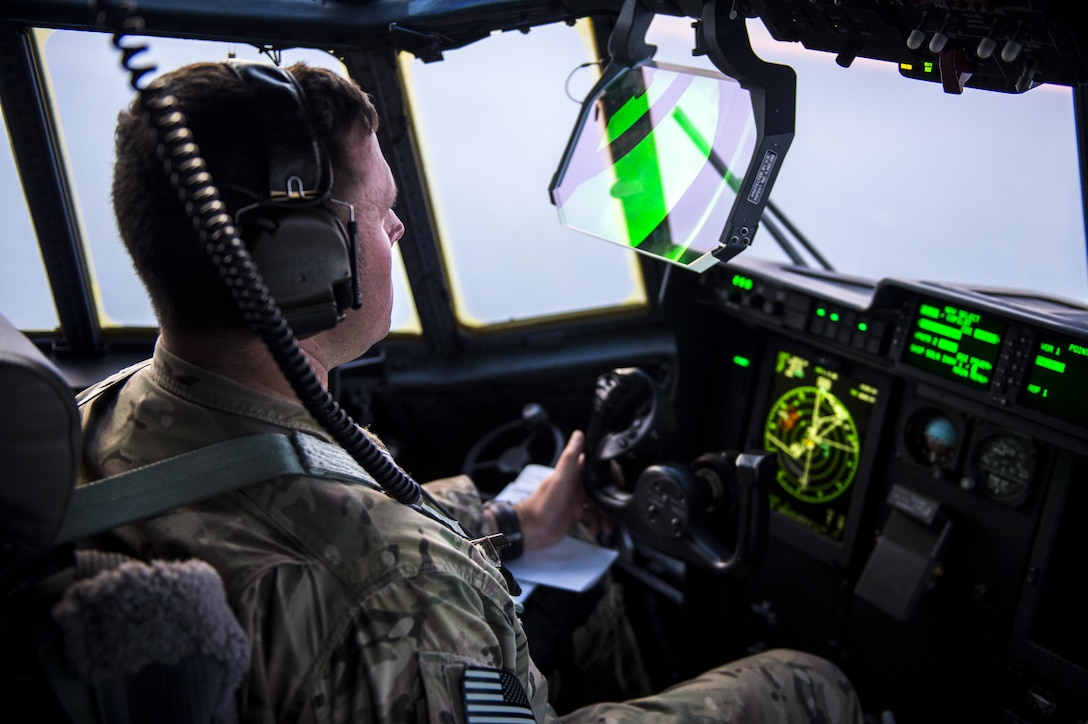 Maj. Marc Lovelace, 9th Special Operations Squadron pilot, leads an air refueling mission over New Mexico Aug. 23, 2017. The 9th SOS retains mission readiness by maintaining pilot and aircrew training for normal, night and special operations. (U.S. Air Force photo by Staff Sgt. Charles Dickens/Released)