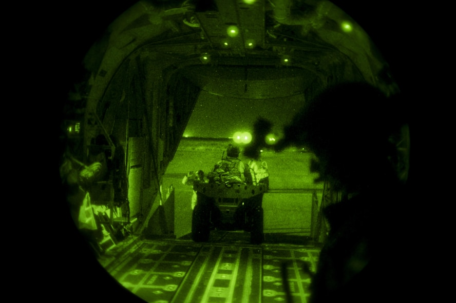 An infiltration is performed during an MC-130J Commando II night operations training mission at Cannon Air Force Base, New Mexico, Aug. 23, 2017. The MC-130J allows special operations troops to be infiltrated behind the line of hostile territories. (U.S. Air Force photo by Staff Sgt. Charles Dickens/Released)