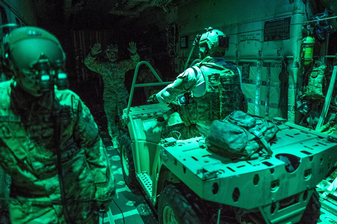 An infiltration is performed during an MC-130J Commando II night operations training mission at Cannon Air Force Base, New Mexico, Aug. 23, 2017. The MC-130J can load troops and vehicles to later be dropped into hostile areas that would otherwise be inaccessible. (U.S. Air Force photo by Staff Sgt. Charles Dickens/Released)
