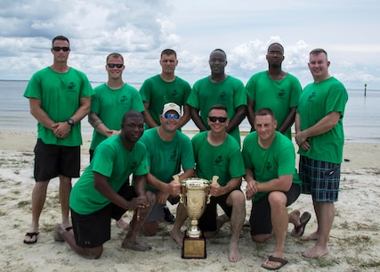 U.S. Marines with Recruiting Station Columbia pose for a photo with their newly acquired trophy after winning the Volleyball Tournament during the 8412 Symposium at the MacDill Marina aboard MacDill Air Force Base Tampa, Florida, Aug. 24, 2017. The Symposium brought all career recruiters together to provide information, develop updated recruiting products, and conduct sustainment training for the professional development of 6MCD's Career Recruiting force. (U.S. Marine Corps photo by Lance Cpl. Jack A. E. Rigsby)