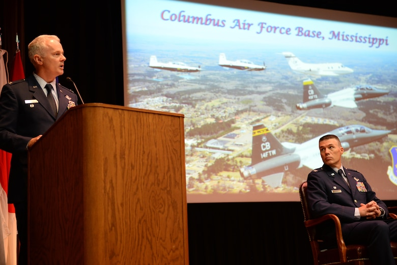 Retired Col. Todd Phinney, former Chair of the Leadership and Warfighting Department at the Air War College, speaks to Specialized Undergraduate Pilot Training Class 17-13 Aug. 18, 2017, on Columbus Air Force Base, Mississippi. SUPT graduations occur every three weeks; for every class that graduates, another class begins. (U.S. Air Force photo by Airman 1st Class Keith Holcomb)