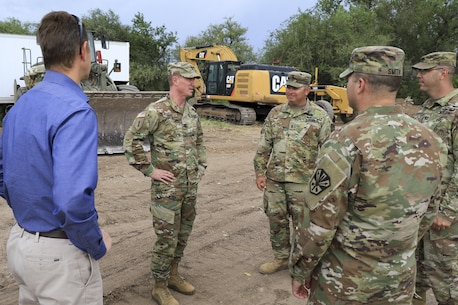 U.S. Army Corps of Engineer Los Angeles District Commander Col. Kirk Gibbs visits District personnel and response sites to personally thank Corps, National Guard and local team members Aug. 23. The Corps responded to the emergency by providing technical advice and direct flood fight assistance.