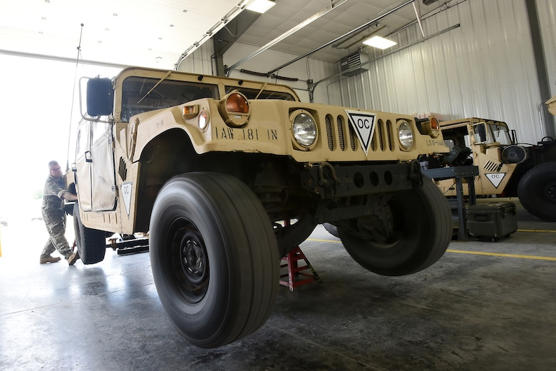 Army Reserve wheeled vehicle mechanics assigned to the 950th Support Maintenance Company conduct annual service on observer coach/trainer humvees as part of their mission to support the shop during Combat Support Training Exercise 86-17-02 at Fort McCoy, Wisconsin, from August 5 – 25, 2017.