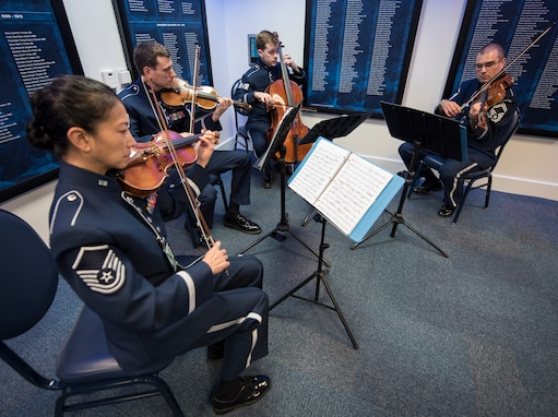 The Air Force Strings provide the music for the retirement of Colonel Jonathan P. Davis in the Pentagon's Hall of Heros this week. The Air Force Band frequently sends small chamber groups out for these types of ceremonies. (U.S. Air Force photos/AFDW/released)