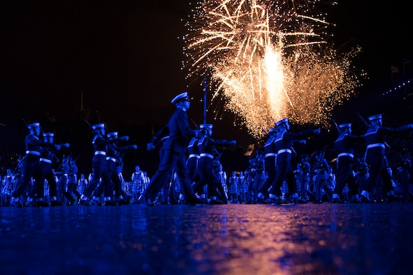 Royal Navy sailors march off to fireworks at the Royal Edinburgh Military Tattoo in Scotland.
