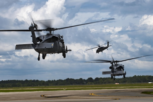 U.S. Air Force 41st Rescue Squadron HH-60G Pave Hawks take-off, Aug. 26, 2017, at Moody Air Force Base, Ga.