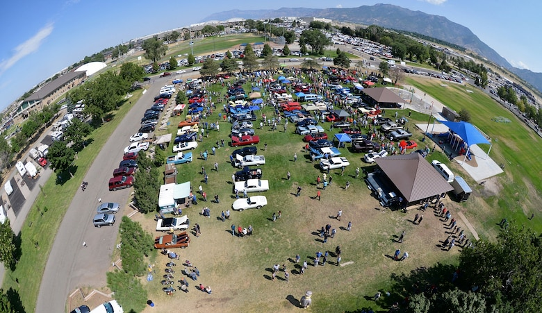 Fisheye view of the crowd and vehicles gathered for the annual Ogden Air Logistics Complex summer picnic and car show. (U.S. Air Force photo by Alex R. Lloyd)