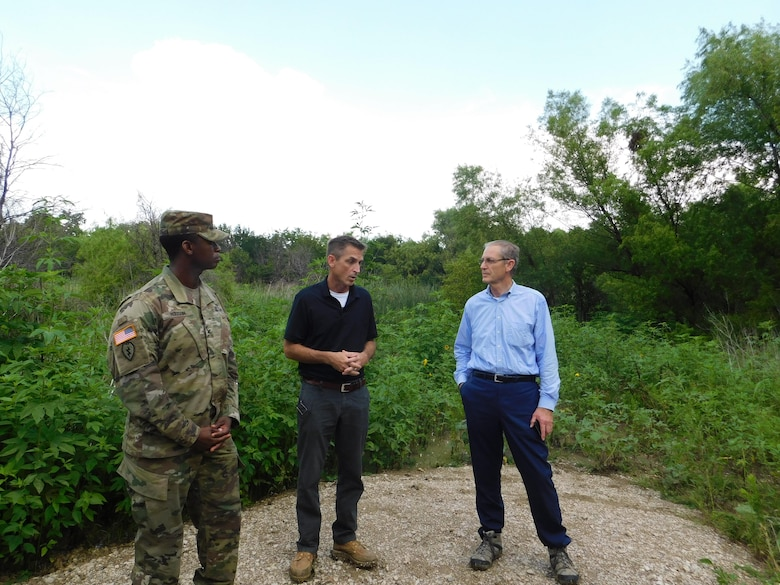 Col. Hudson toured our Continuing Authorities Program project in Frisco near Lewisville Lake June 28, along with CAP Program Manager Jon Loxley and Frisco City Manager George Purefoy – who has overseen Frisco's rapid growth in 30 years as the only city manager Frisco has ever had.