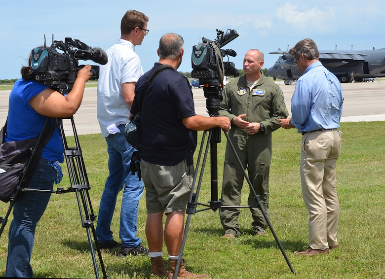 The local media covered approximately 90 Citizen Airmen from the 920th Rescue Wing as they deployed to Texas to exercise their hurricane relief capabilities August 28, 2017. Wing Airmen launched three HH-60G Pave Hawk combat-search-and-rescue helicopters and two combat king HC-130P/N aerial refueling aircraft to Naval Air Station Ft. Worth Joint Reserve Base where Tenth Air Force Headquarters is located. If the Federal Emergency Management Agency or Air Combat Command gives the order to provide disaster relief following Hurricane Harvey's devastating effects to the state, the 920th will be ready to help. (U.S. Air Force photo/Maj. Cathleen Snow)