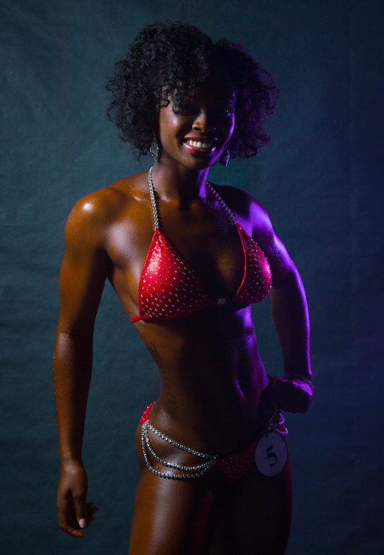 Staff Sgt. Davine Naulty, 56th Logistics Readiness Squadron customer service technician, received first place in the bikini short category during a body building competition at Luke Air Force Base, Ariz., Aug. 26, 2017. The competition featured three categories, physique, figure and bikini. (U.S. Air Force photo/Staff Sgt. Jensen Stidham)