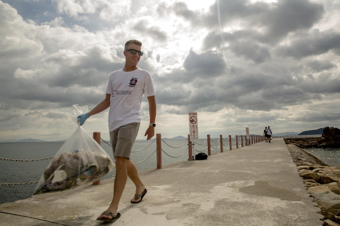 Single Marine Program volunteers cleanup Yuu Beach