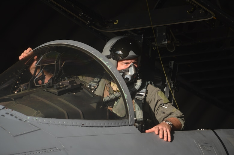 A 493rd Fighter Squadron pilot completes pre-flight checks prior to departing Royal Air Force Lakenheath, England, Aug. 29, 2017. During a deployment to support the NATO Baltic Air Policing peacetime collective defense mission, U.S. Airmen will continue to build upon shared values, experiences and vision to strengthen the bond between Baltic allies through shared capabilities and coordinated efforts to effectively accomplish missions. (U.S. Air Force photo/Master Sgt. Eric Burks)