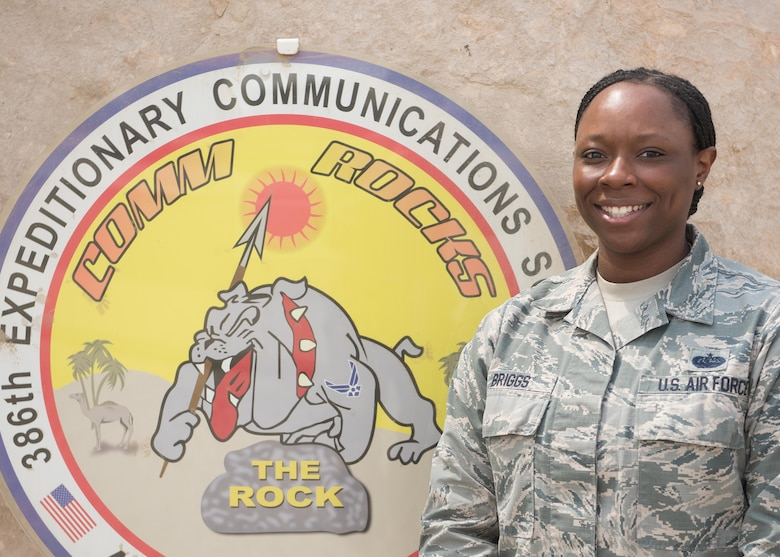 This week's Rock Solid Warrior is Staff Sgt. Nataja Briggs, the knowledge operations NCOIC with the 386th Expeditionary Communications Squadron, deployed from Joint Base Andrews, Md. The Rock Solid Warrior program is a way to recognize and spotlight the Airmen of the 386th Air Expeditionary Wing for their positive impact and commitment to the mission.