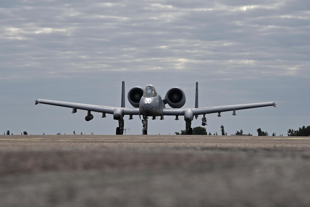 An A-10C Thunderbolt II aircraft from the 175th Wing, Maryland Air National Guard, taxis down the runway after landing Aug. 16, 2017, for a forward air refueling exercise during Operation Heatwave at Kuressaare Airfield, Estonia. The flying training deployment is funded by the European Reassurance Initiative in support of Operation Atlantic Resolve. The U.S. Air Force's forward presence in Europe allows the U.S. to work with allies and partners to develop and improve ready air forces capable of maintaining regional security. (U.S. Air National Guard photo by Airman 1st Class Sarah M. McClanahan)