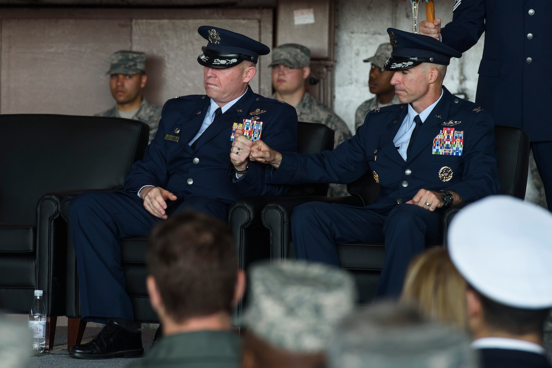 Col. Jason Bailey, 52nd Fighter Wing commander, renders his first salute as the 52nd FW commander during the change of command ceremony at Spangdahlem Air Base, Germany, Aug. 29, 2017. Bailey came from Bagram Air Field, Afghanistan, as the commander of the 455th Expeditionary Operations Group. (U.S. Air Force photo by Staff Sgt. Jonathan Snyder)