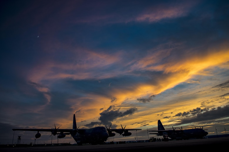HC-130J Combat King II aircraft from the 71st Rescue Squadron sit on the flightline, Aug. 26, 2017, at Naval Air Station Fort Worth Joint Reserve Base, Texas.