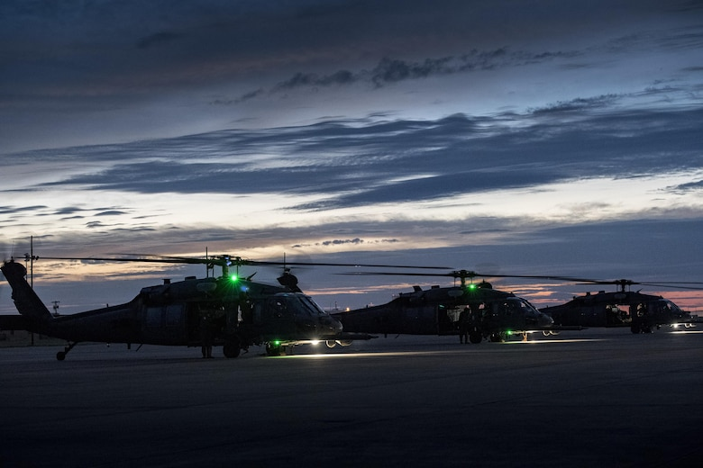 HH-60G Pave Hawks, assigned to the 41st Rescue squadron, park, Aug. 26, 2017, at Naval Air Station Fort Worth Joint Reserve Base, Texas.