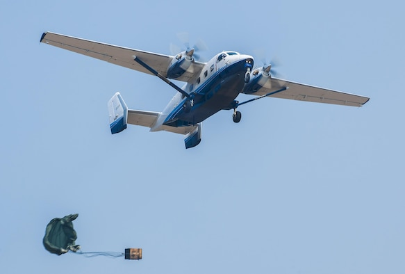 C-145A performs airdrop