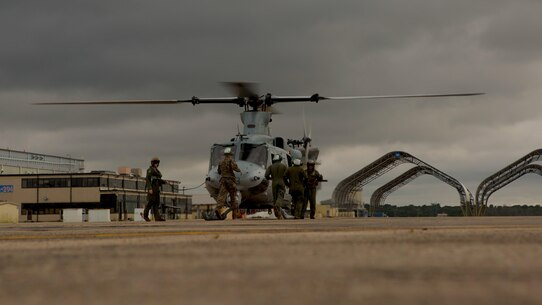 BELLE CHASSE, La. - Marines from Detachment A, Marine Light Attack Helicopter Squadron 773, Marine Aircraft Group 49, 4th Marine Aircraft Wing, Marine Forces Reserve, prepare a Bell UH-1Y Venom for take off in support of Hurricane Harvey on Aug. 28, 2017 from Belle Chasse, La. The Marine Corps is America's expeditionary total force in readiness that is always first to the fight, whether on the battlefield or national emergencies. Active duty and Reserve Marine are fully integrated to fight and win in any clime at any time.