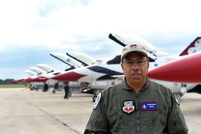 Hometown Hero, Dr. Brian Smith, President and Treasurer of the Tuskegee Airmen National Museum, awaits an incentive flight with the United States Air Force Thunderbirds, on August 20th 2017, during the Selfridge Centennial Open House and Air Show. As director of youth programs for the Detroit Chapter of Tuskegee Airmen Inc., Smith uses his personal aircraft to support the programs and helps maintain seven aircraft at the Tuskegee Airmen National Museum.   (U.S. Air National Guard photo by MSgt. David Kujawa)
