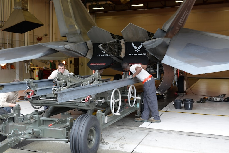 The 3rd Maintenance Group holds their quarterly safety training day Aug 21, 2017 at Joint Base Elmendorf-Richardson, Alaska. The 90th Aircraft Maintenance Unit's, Tactical Aircraft Maintenance Section was able to use the day for a scheduled F-22 Raptor engine change while training and qualifying six new Airmen on how to do it.