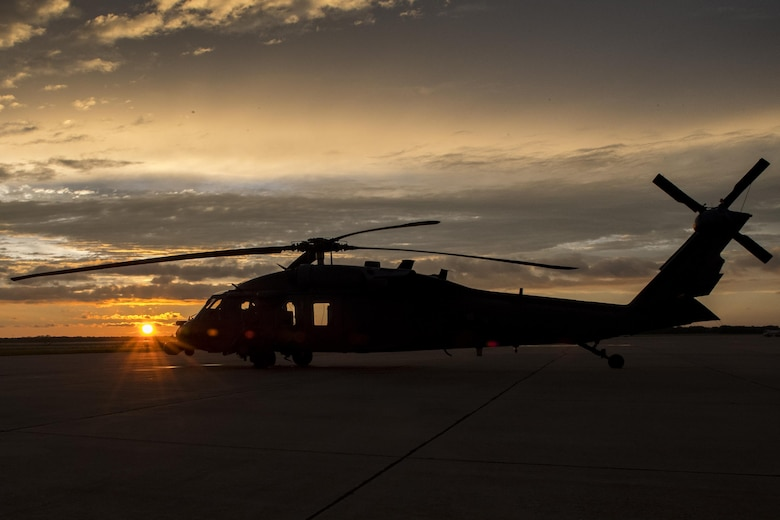An HH-60G Pave Hawk rests on the flightline, Aug. 28, 2017, at Easterwood Airport in College Station, Texas. The 347th Rescue Group from Moody Air Force Base, Ga. sent aircraft and personnel in support of Air Forces Northern as part of Northern Command's support of FEMA's disaster response efforts. (U.S. Air Force photo by Tech. Sgt. Zachary Wolf)