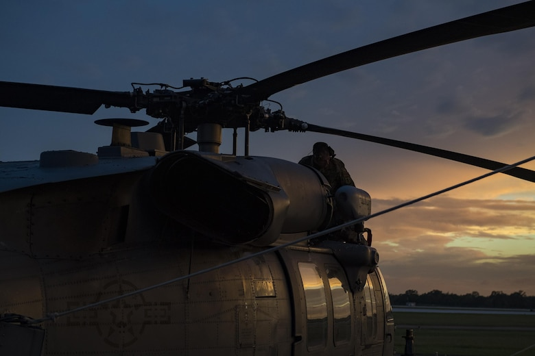 Staff Sgt. Sean O'Neill, 41st Helicopter Maintenance Unit maintainer, checks the rotor blades of an HH-60G Pave Hawk, Aug. 28, 2017, at Easterwood Airport in College Station, Texas. The 347th Rescue Group from Moody Air Force Base, Ga. sent aircraft and in support of Air Forces Northern as part of Northern Command's support of FEMA's disaster response efforts. (U.S. Air Force photo by Tech. Sgt. Zachary Wolf)