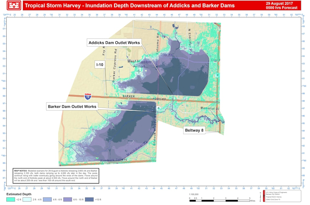 The illustrations depict modeling from what we projected early Aug. 29 before we increased our releases to 7000 and 6000 at Addicks and Barker Dams. Areas depicted in green are currently not flooded, as previously predicted due to the increased releases.