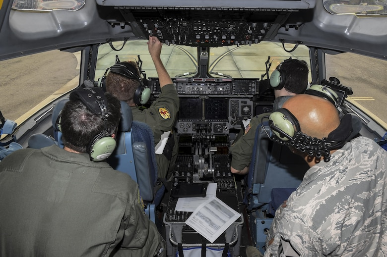 Aircrew from the 16th Airlift Squadron prepares for an emergency response mission in response to Hurricane Harvey Aug. 29.