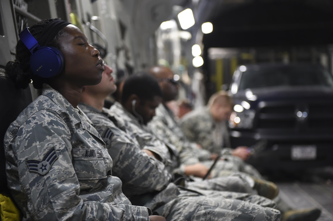 Members of the 51st and 52nd Combat Communications Squadron, Robins Air Force Base, Ga., prepare for their arrival to the Alexandria International Airport, Alexandria, La., to provide aid to those impacted by Hurricane Harvey Aug. 29.