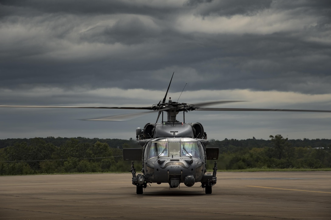 An HH-60G Pave Hawk from the 41st Rescue Squadron returns from a sortie in support of Hurricane Harvey relief efforts, Aug. 29, 2017, at Easterwood Airport, College Station, Texas.