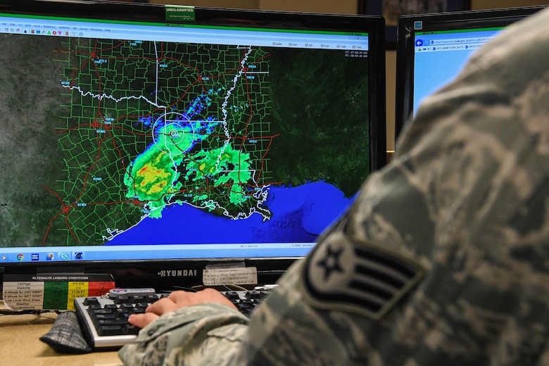 Team Barksdale monitors Tropical Storm Harvey