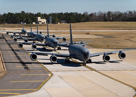 Planes on flight line ready for refueling